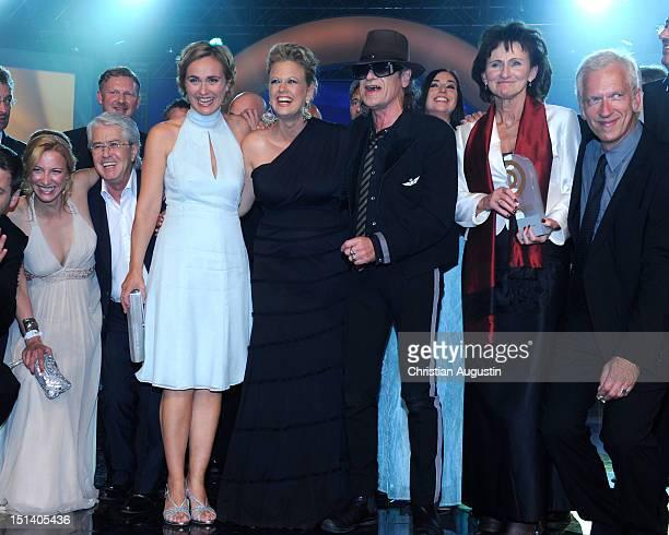 Frank Elstner Caren Miosga Barbara Schoeneberger and Udo Lindenberg attend After Show Party of Deutscher Radiopreis 2012 at 'Schuppen 52' on...