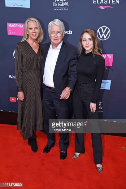 Frank Elstner his wife Britta Gessler and their daughter Enya Elstner attend the YouTube Goldene Kamera Digital Awards at Kraftwerk on September 26...