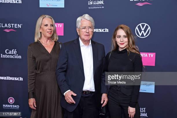 Frank Elstner, his wife Britta Gessler and their daughter Enya Elstner attend the YouTube Goldene Kamera Digital Awards at Kraftwerk on September 26,...