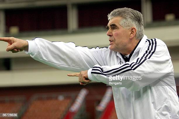 Frank Engel Germany team coach gives instructions during the men's Under 18 match between Germany and Ukraine at the International St Petersburg...