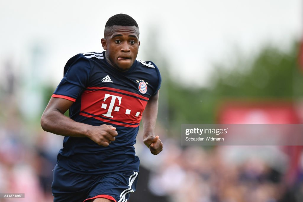 Frank Evina of FC Bayern Muenchen runs during the preseason friendly match between FSV Erlangen-Bruck and Bayern Muenchen at Adi Dassler Sportplatz on July 9, 2017 in Herzogenaurach, Germany.