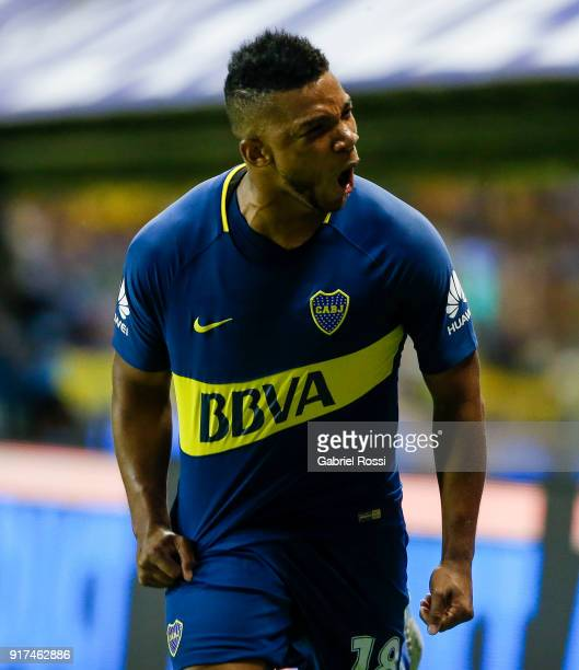 Frank Fabra of Boca Juniors celebrates after scoring the first goal of his team during a match between Boca Juniors and Temperley as part of the...