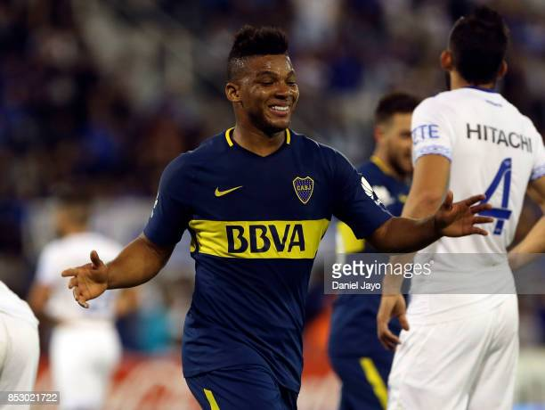 Frank Fabra of Boca Juniors celebrates after scoring the fourth goal of his team during a match between Velez Sarsfield and Boca Juniors as part of...