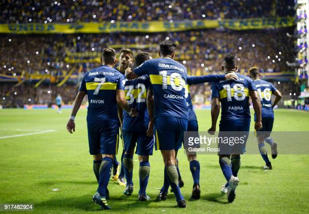 Frank Fabra of Boca Juniors celebrates with teammates after scoring the first goal of his team during a match between Boca Juniors and Temperley as...
