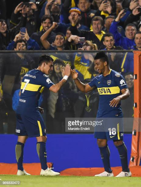 Frank Fabra of Boca Juniors celebrates with teammates after scoring the second goal of his team during a match between Boca Juniors and Alianza Lima...