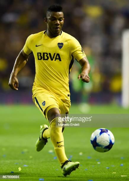 Frank Fabra of Boca Juniors drives the ball during a match between Boca Juniors and Belgrano as part of Superliga 2017/18 at Alberto J Armando...