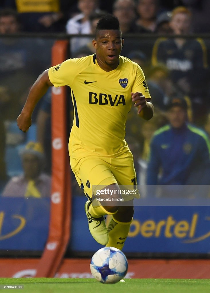Frank Fabra of Boca Juniors drives the ball during a match between Boca Juniors and Racing Club as part of the Superliga 2017/18 at Alberto J. Armando Stadium on November 19, 2017 in Buenos Aires, Argentina.