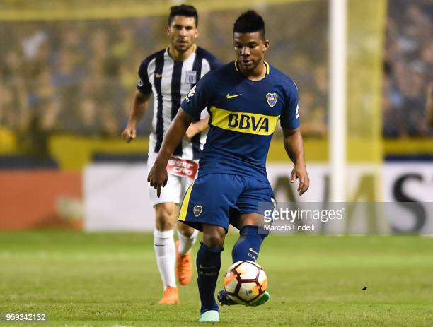 Frank Fabra of Boca Juniors kicks the ball during a match between Boca Juniors and Alianza Lima at Alberto J Armando Stadium on May 16 2018 in La...