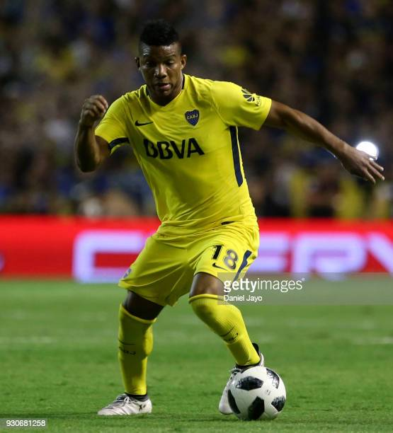 Frank Fabra of Boca Juniors plays the ball during a match between Boca Juniors and Tigre as part of the Superliga 2017/18 at Alberto J Armando...