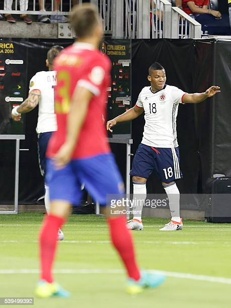 Frank Fabra of Colombia celebrates his goal against the Costa Rica in the first half in group A match between Colombia and Costa Rica at NRG Stadium...