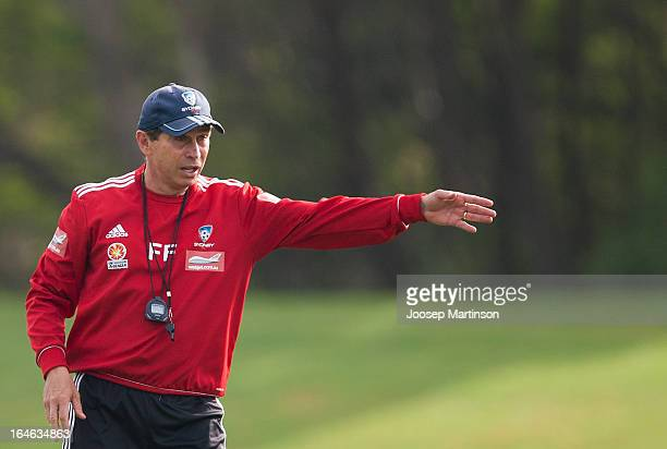 Frank Farina gives instructions during a Sydney FC training session at Macquarie Uni on March 26 2013 in Sydney Australia