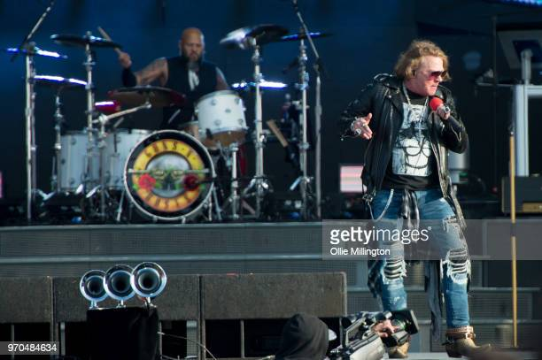 Frank Ferrer and Axl Rose of Guns N Roses perform onstage on Day 2 of the Download Festival at Donington Park on June 9, 2018 in Donington, England.