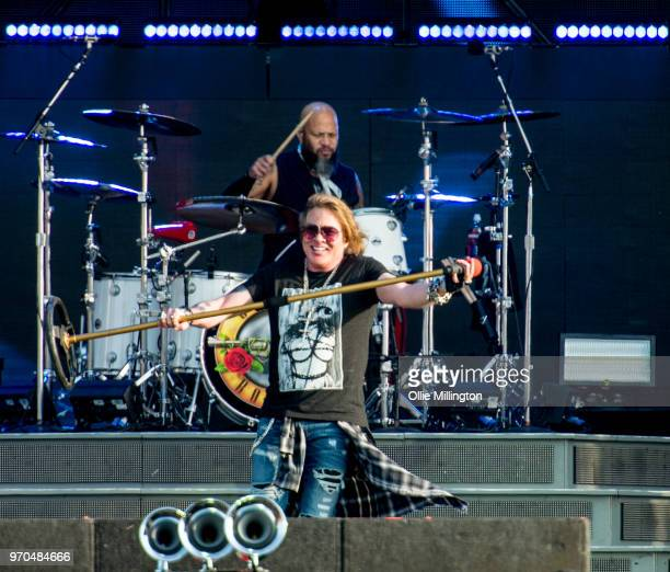 Frank Ferrer and Axl Rose of Guns N Roses performs onstage on Day 2 of the Download Festival at Donington Park on June 9, 2018 in Donington, England.