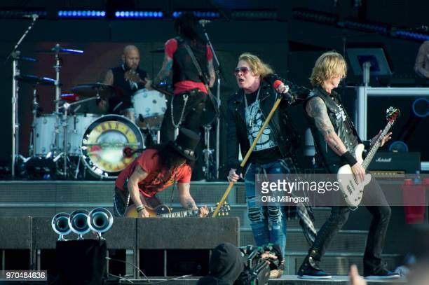Frank Ferrer; Slash; Axl Rose and Duff McKagan of Guns N Roses perform onstage on Day 2 of the Download Festival at Donington Park on June 9, 2018 in...