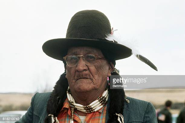 Frank Fools Crow ceremonial chief and spiritual leader of the Oglalla Sioux arrives at Wounded Knee to negotiate a cease fire between members of the...
