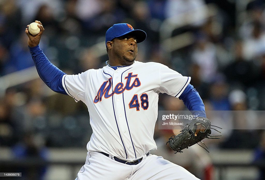 Frank Francisco #48 of the New York Mets pitches in the ninth inning against the Arizona Diamondbacks at Citi Field on May 5, 2012 in the Flushing neighborhood of the Queens borough of New York City.