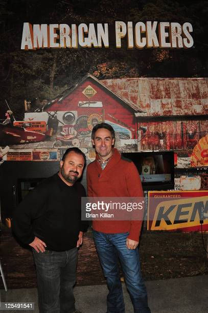 Frank Fritz and Mike Wolfe from American Pickers attend the grand opening of the History Pop Shop at History Pop Shop on December 6 2010 in New York...