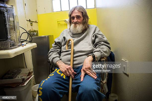 Frank Fuller age 66 sits in his prison cell after breakfast at California Men's Colony prison on December 19 2013 in San Luis Obispo California...