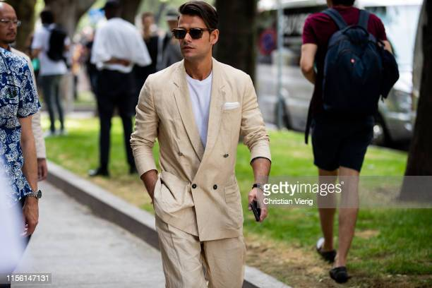 Frank Gallucci is seen wearing beige suit outside Emporio Armani during the Milan Men's Fashion Week Spring/Summer 2020 on June 15, 2019 in Milan,...