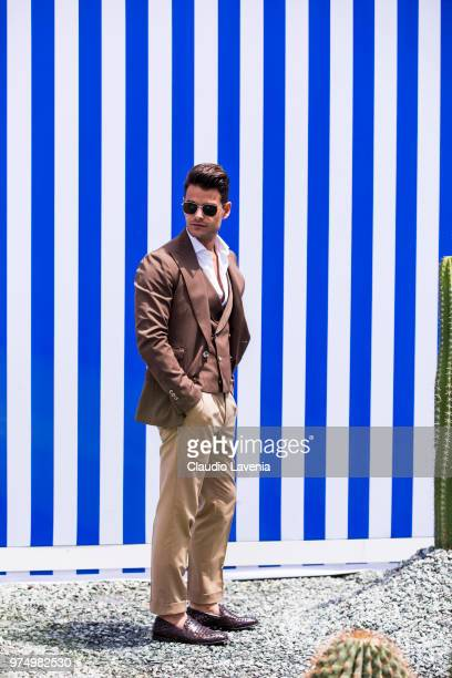 Frank Gallucci wearing a brown suit and Preventi by Frank Gallucci shoes is seen during the 94th Pitti Immagine Uomo at Fortezza Da Basso on June 14...