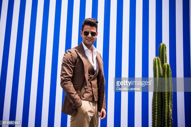 Frank Gallucci wearing a brown suit is seen during the 94th Pitti Immagine Uomo at Fortezza Da Basso on June 14 2018 in Florence Italy