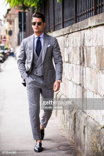 Frank Gallucci wearing a grey suit is seen during the 94th Pitti Immagine Uomo at Fortezza Da Basso on June 13 2018 in Florence Italy