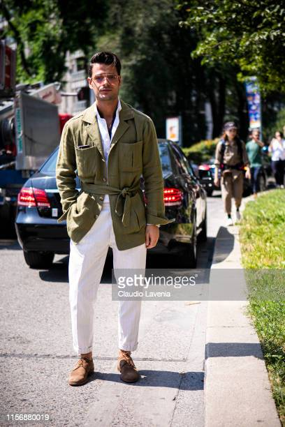 Frank Gallucci wearing a white shirt cream pants military green jacket and brown shoes is seen outside Pal Zileri show during the Milan Men's Fashion...