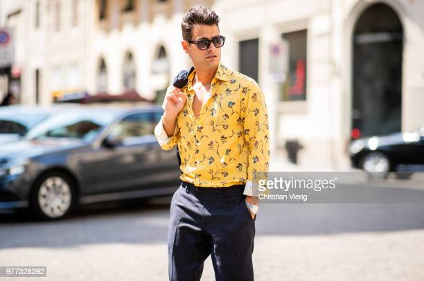 Frank Gallucci wearing yellow button shirt is seen outside Daks during Milan Men's Fashion Week Spring/Summer 2019 on June 17 2018 in Milan Italy