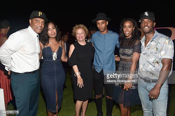 Frank Gatson Jr Ava Coleman BET CEO and Chairman Debra L Lee actor Keith Powers singer Kelly Rowland and singer Luke James attend Debra Lee's PRE...