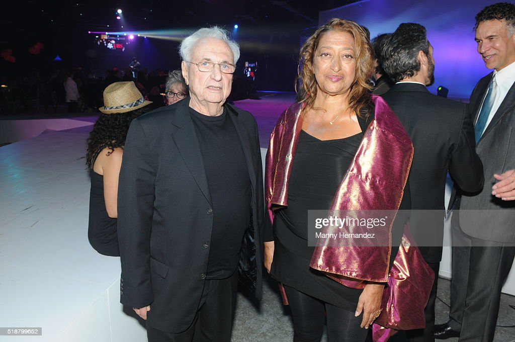 Frank Gehry And Zaha Hadid At The Young Arts Backyard Ball After Party On January