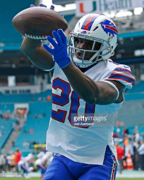 Frank Gore of the Buffalo Bills catches the ball prior to the game against the Miami Dolphins on November 17, 2019 at Hard Rock Stadium in Miami...