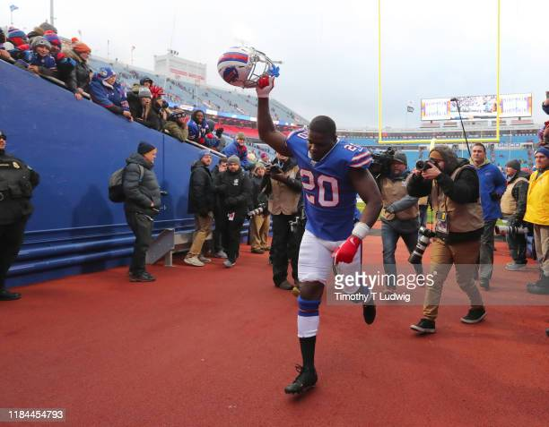 Frank Gore of the Buffalo Bills runs off the field after a game against the Denver Broncos at New Era Field on November 24, 2019 in Orchard Park, New...