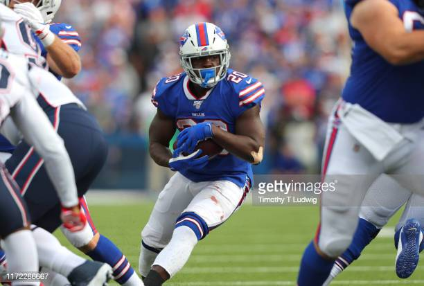 Frank Gore of the Buffalo Bills runs the ball during the second half against the New England Patriots at New Era Field on September 29, 2019 in...