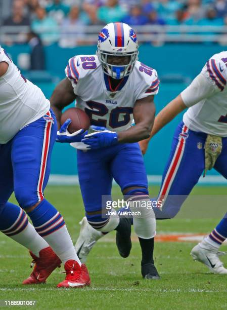 Frank Gore of the Buffalo Bills runs with the ball against the Miami Dolphins during an NFL game on November 17, 2019 at Hard Rock Stadium in Miami...