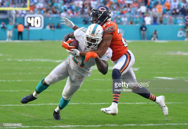 Frank Gore of the Miami Dolphins in action against the Chicago Bears at Hard Rock Stadium on October 14 2018 in Miami Florida