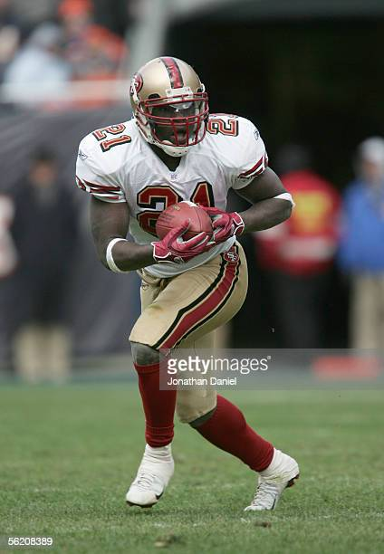 Frank Gore of the San Francisco 49ers carries the ball during the game against the Chicago Bears on November 13, 2005 at Soldier Field in Chicago,...