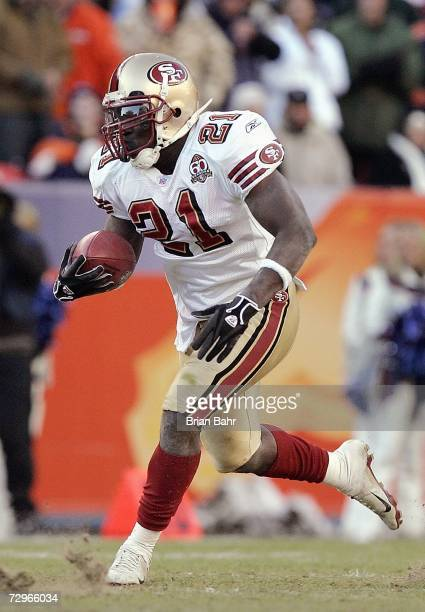 Frank Gore of the San Francisco 49ers carries the ball during the game against the Denver Broncos at Invesco Field at Mile High on December 31 2006...