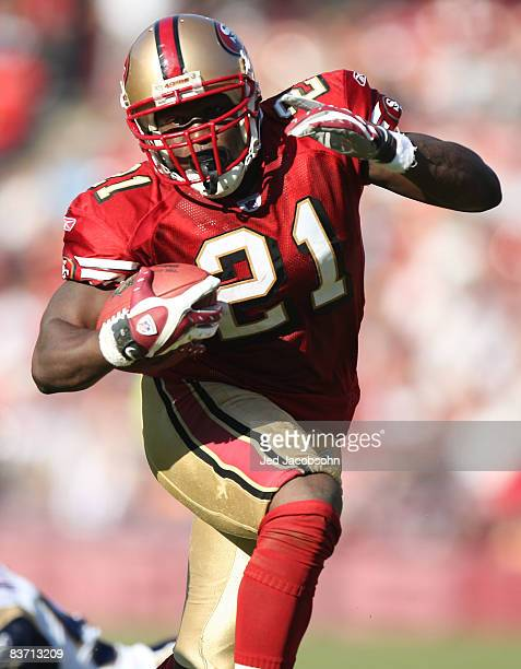 Frank Gore of the San Francisco 49ers runs against the St Louis Rams during an NFL game on November 16 2008 at Candlestick Park in San Francisco...