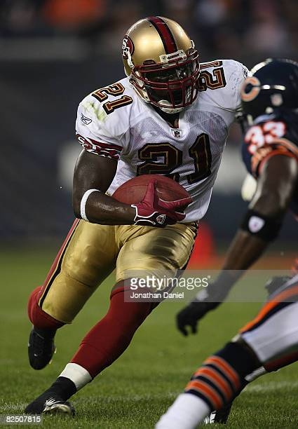 Frank Gore of the San Francisco 49ers runs the ball against the Chicago Bears on August 21 2008 at Soldier Field in Chicago Illinois