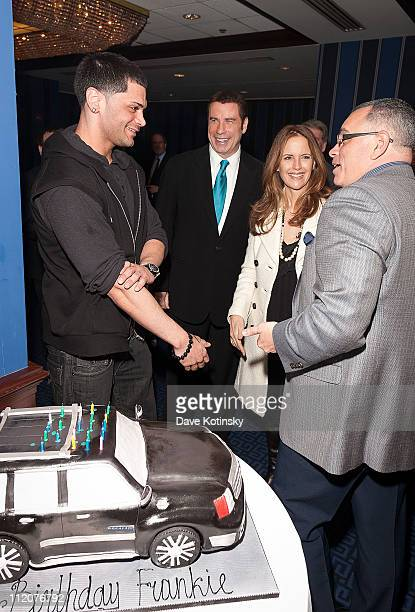 Frank Gotti Agnello John Travolta Kelly Preston and John Gotti Jr attend the celebration of Frank Gotti's 21st birthday with the cast of Gotti Three...