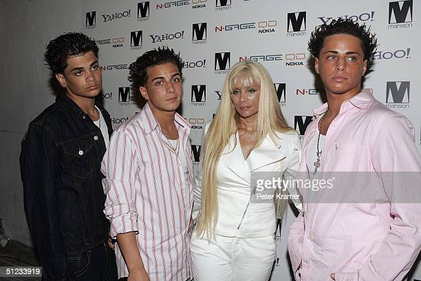 Frank Gotti John Gotti Victoria Gotti and Carmine Gotti arrive at a party for photographer David LaChapelle At Mansion nightclub August 28 2004 in...