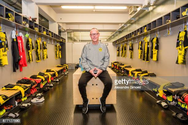 Frank Graefen kit manager of Borussia Dortmund prepares the changing room prior to the UEFA Champions League match between Borussia Dortmund and...