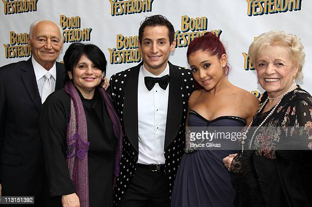 Frank Grande Joan Grande Producer Frankie James Grande and sister Ariana Grande and Margorie Grande pose at The Opening Night of 'Born Yesterday' on...