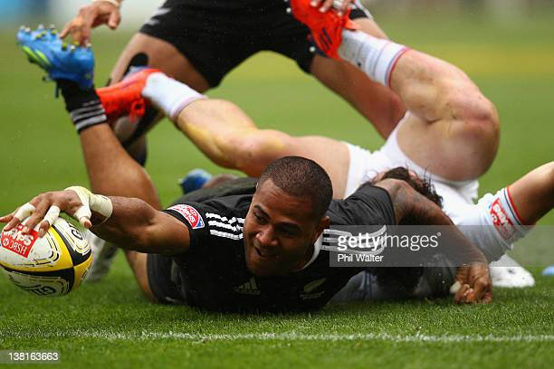 Frank Halai of New Zealand scores a try during the match between New Zealand and France on day two of the Wellington Sevens at Westpac Stadium on...