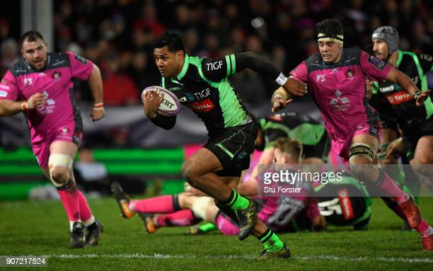 Frank Halai of Paloise breaks through to score during the European Rugby Challenge Cup match between Gloucester and Section Paloise at Kingsholm on...
