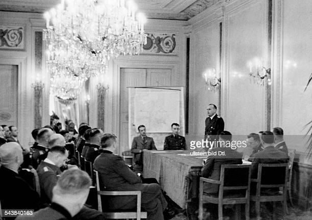 Frank Hans Jurist Politician NSDAP Germany during the first meeting of the General Government of occupied Poland in Cracow Photographer Heinrich...