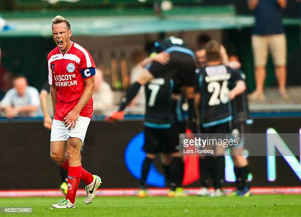 Frank Hansen of Silkeborg IF shows frustration during the Danish Superliga match between Silkeborg IF and Sonderjyske at Mascot Park on August 1 2014...