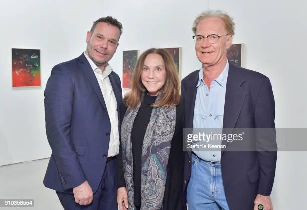 Frank Hettig Jane Glassman and Richard Hertz at OPENING NIGHT   ART LOS ANGELES CONTEMPORARY 9TH EDITION at Barkar Hangar on January 25 2018 in Santa...