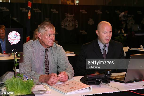 Frank Howard, left and Mike Thurman of the New York Yankees look on during the 2007 First-year player draft at The Milk House in Disney's Wide World...