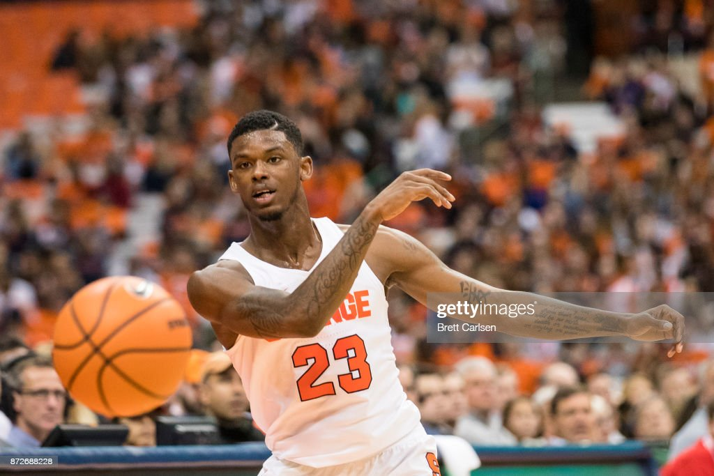 Frank Howard #23 of the Syracuse Orange passes the ball during the first half against the Cornell Big Red at the Carrier Dome on November 10, 2017 in Syracuse, New York. Syracuse defeats Cornell 77-45.
